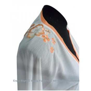 UC133 - White Shawl with Light Orange Flower Embroidery/Trim